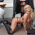Lucy Zara and Dannii Harwood in leather covered bodies
