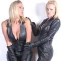 Babes in leather clothes, gloves and boots