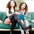 Hot twin sisters in high heels make their subs cry during trampling