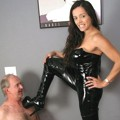 Black booted bitch trample