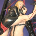 Lady Natalie torments tied slave in web