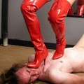 Trampled by red thigh high boots